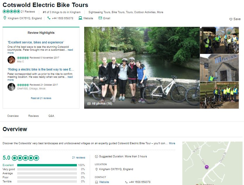 Cotswold Electric Bike Tours visitor reviews